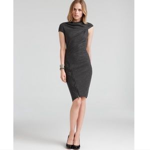 HELMUT LANG Wool Sonar Asymmetrical Zipper Dress